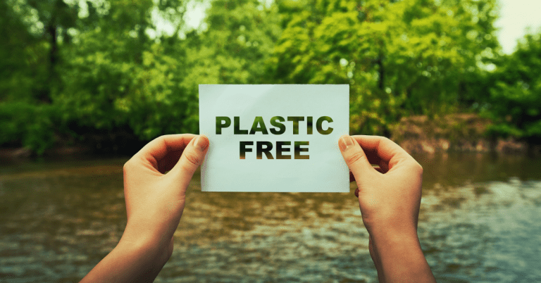 Plastic Free Sign Nature Background Single Use Plastic Is A Problem