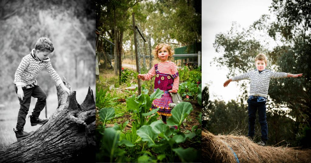 A young boy climbing a fallen tree log, a young girl with a purple dress standing in a vegetable garden and a young boy standing tall on a straw bale